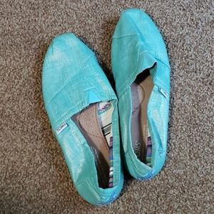 TOMS sparkly teal slip on shoes